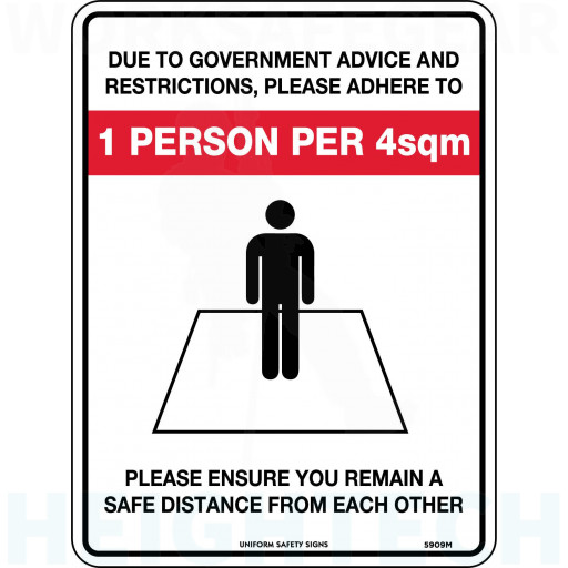 Please Adhere To Social & Physical Distancing Sign 300x255mm Poly (5909MP)
