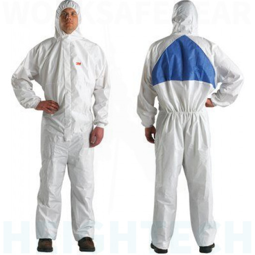XL Protective Coverall White + Blue with Blue Breathable Back Panel 3M (4540+)