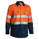 6XL Bisley Orange/Navy 3M Taped 2 Tone Hi Vis Cool Lightweight Mens Shirt Long Sleeve (BS6896)