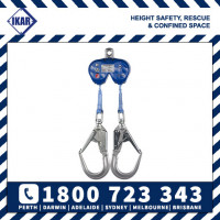 IKAR 2m Twin Retractable Dual Fall Arrest Block with Scaff Hooks SRL Rated 136kg/300lbs