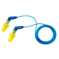 (Case of 4 boxes) 3M Yellow with Blue Stem Corded Earplugs in Polybag Class 4 SLC80 22dB (100 pairs per box) (70071515756)