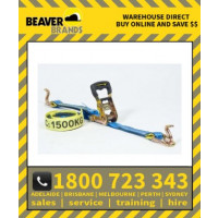 Beaver 35mm X 6m Multi Purpose Ratchet Tie Down Assembly Rubber Grip Handle With Hook & Keeper (349035rb)