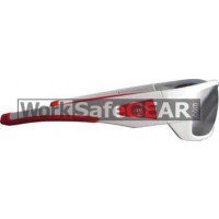 Bandit III Maverick Polarised Safety Glasses Eye Protection Specs White-Red Frame, Smoke Lens (8105SWPS-Polarised)