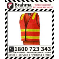 Brahma Hi Vis VIC Roads Flouro Red/Orange Reflective Stripe Vest
