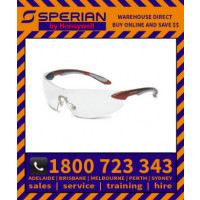 Ignite Red Silver Frame Clear Lens Hard Coat Safety Glasses