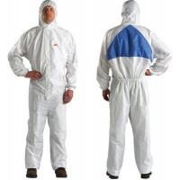 M Protective Coverall White + Blue with Blue Breathable Back Panel 3M (4540+)