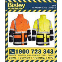 Bisley 5-In-1 Hi Vis Safety Rain Jacket (BK6975)