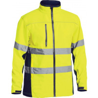 Bisley Yellow/Navy Soft Shell Jacket with 3M Reflective Tape (BJ6059T)