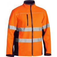 Bisley Orange/Navy Soft Shell Jacket with 3M Reflective Tape (BJ6059T)