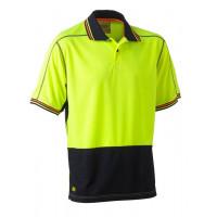 Bisley 2 Tone Hi Vis Polyester Mesh Short Sleeve Polo Shirt Yellow/Navy
