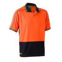 Bisley 2 Tone Hi Vis Polyester Mesh Short Sleeve Polo Shirt Orange/Navy