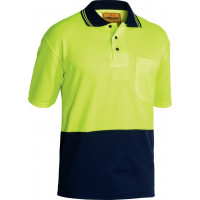 Bisley Yellow/Navy 2 Tone Hi Vis Polo Shirt Short Sleeve (BK1234)