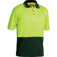 Bisley Yellow/Bottle 2 Tone Hi Vis Polo Shirt Short Sleeve (BK1234)