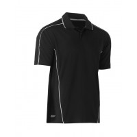 Bisley Cool Mesh Polo Shirt Black with reflective piping