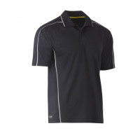 Bisley Cool Mesh Polo Shirt Charcoal with reflective piping