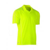 Bisley Cool Mesh Polo Shirt Hi Vis Yellow with reflective piping