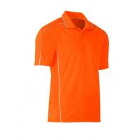 Bisley Cool Mesh Polo Shirt Hi Vis Orange with reflective piping
