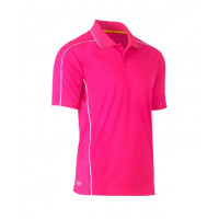 Bisley Cool Mesh Polo Shirt Pink with reflective piping