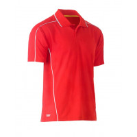 Bisley Cool Mesh Polo Shirt Red with reflective piping