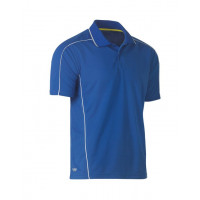 Bisley Cool Mesh Polo Shirt Royal with reflective piping