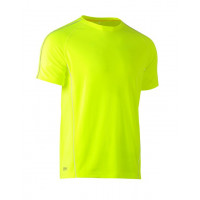 Bisley Cool Mesh Tee Hi Vis Yellow with reflective piping