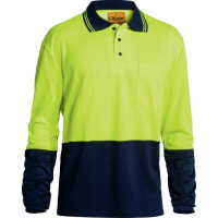 Bisley Yellow/Navy 2 Tone Hi Vis Polo Shirt Long Sleeve (BK6234)