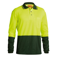 3XL Bisley Yellow/Bottle 2 Tone Hi Vis Polo Shirt Long Sleeve (BK6234)