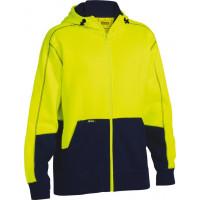 Bisley Hi Vis Fleece Hoodie Yellow/Navy