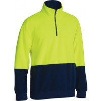 Bisley Hi Vis Polarfleece Zip Pullover Yellow/Navy