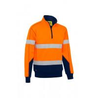Bisley Taped Hi Vis Fleece Pullover with Sherpa Lining Orange/Navy