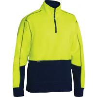 Bisley Hi Vis Fleece Pullover Yellow/Navy