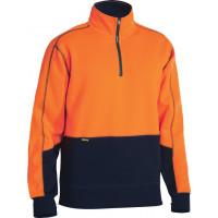 Bisley Hi Vis Fleece Pullover Orange/Navy