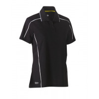 Bisley Womens Cool Mesh Polo Shirt Black