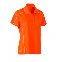 Bisley Womens Cool Mesh Polo Shirt Hi Vis Orange