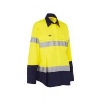 Bisley 3M Taped Hi Vis Maternity Drill Shirt Yellow/Navy