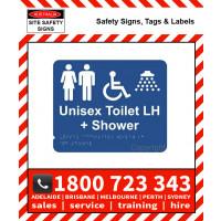 UNISEX DISABLE SHOWER LH 195x240mm Laminate & Braille