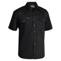 Medium Black Bisley Mens Cotton Drill Shirt Short Sleeve (BS1433_BBLKM)