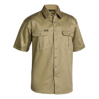 Large Khaki Bisley Mens Cotton Drill Shirt Short Sleeve (BS1433_BCDRL)