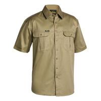 Small Khaki Bisley Mens Cotton Drill Shirt Short Sleeve (BS1433_BCDRS)