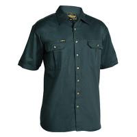 2XL Bottle Bisley Mens Cotton Drill Shirt Short Sleeve (BS1433_BGRG2XL)