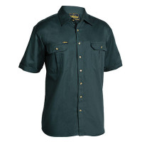 Large Bottle Bisley Mens Cotton Drill Shirt Short Sleeve (BS1433_BGRGL)