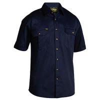 Small Navy Bisley Mens Cotton Drill Shirt Short Sleeve (BS1433_BPCTS)