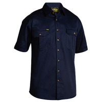 Large Navy Bisley Mens Cotton Drill Shirt Short Sleeve (BS1433_BPCTL)