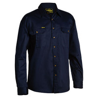 Large Navy Bisley Mens Cotton Drill Shirt Long Sleeve (BS6433_BPCTL)