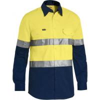 Bisley 3M Taped Cool Lightweight Hi Vis Shirt Yellow/Navy