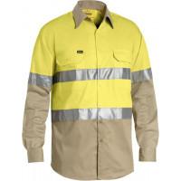 Bisley 3M Taped Cool Lightweight Hi Vis Shirt Yellow/Khaki