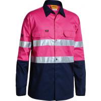Bisley Pink/Navy 3M Taped 2 Tone Hi Vis Cool Lightweight Mens Shirt Long Sleeve (BS6896)