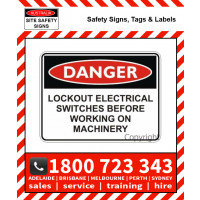 DANGER LOCKOUT ELECTRICAL 150x225mm Self Stick Vinyl