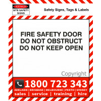 FIRE SAFETY DOOR TEXT ONLY 25mm / 50mm H Black Vinyl