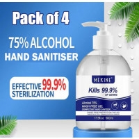 500ml ALCOHOL BASED HAND SANITISER SANITIZER GEL ANTI-BACTERIAL KILLS 99.99% GERMS Pk-4